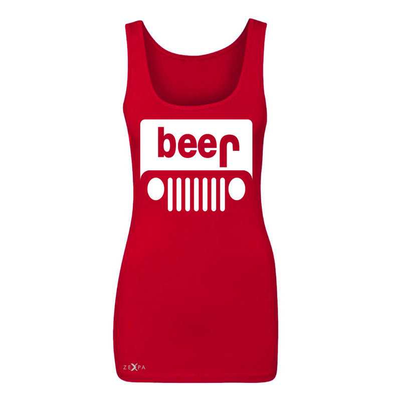 Beer Jeep Funny  Women's Tank Top Drinking Off-Road Party Alcohol Sleeveless - Zexpa Apparel Halloween Christmas Shirts