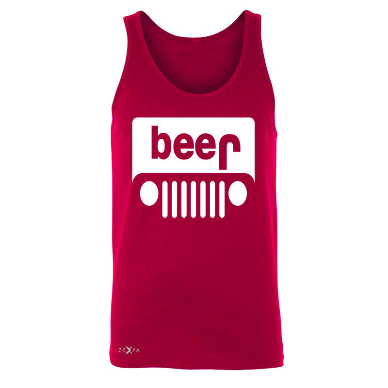 Beer Jeep Funny  Men's Jersey Tank Drinking Off-Road Party Alcohol Sleeveless - Zexpa Apparel Halloween Christmas Shirts