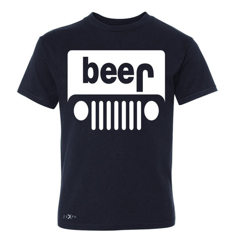 Beer Jeep Funny  Youth T-shirt Drinking Off-Road Party Alcohol Tee - Zexpa Apparel Halloween Christmas Shirts