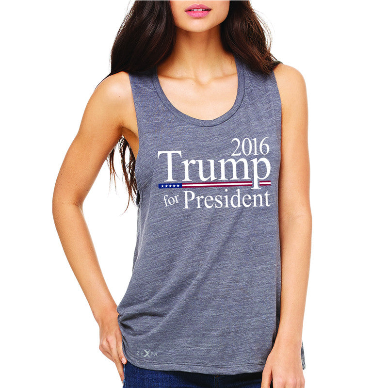 Trump for President 2016 Campaign Women's Muscle Tee Politics Sleeveless - Zexpa Apparel - 2