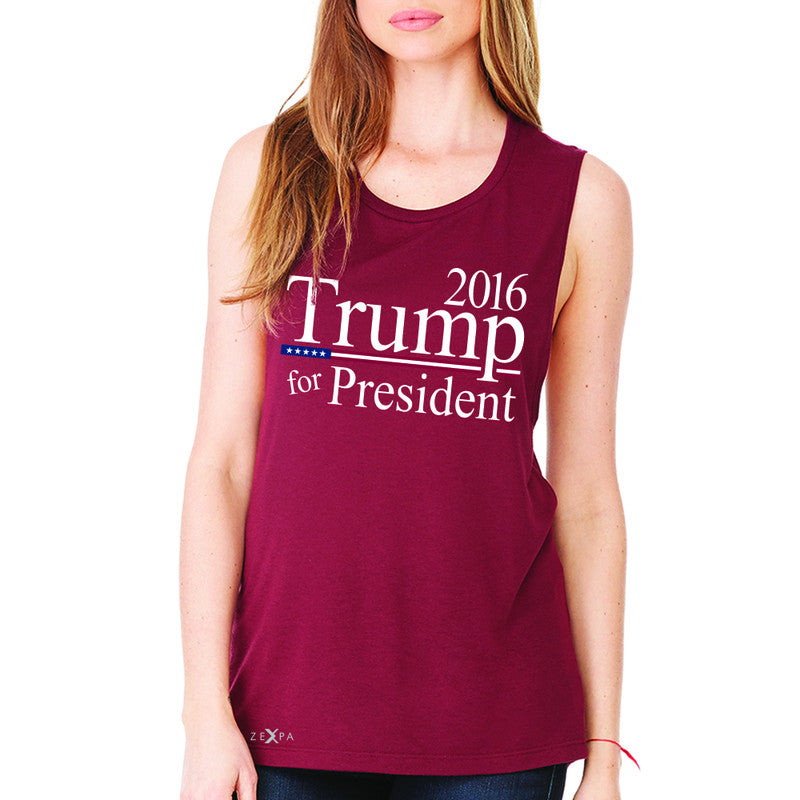 Trump for President 2016 Campaign Women's Muscle Tee Politics Sleeveless - Zexpa Apparel - 4