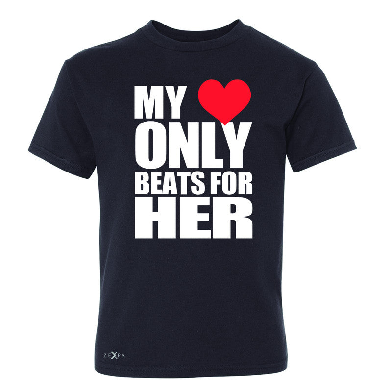 Zexpa Apparel™ My Heart Only Beats For Her Youth T-shirt Couple Matching July Tee - Zexpa Apparel Halloween Christmas Shirts