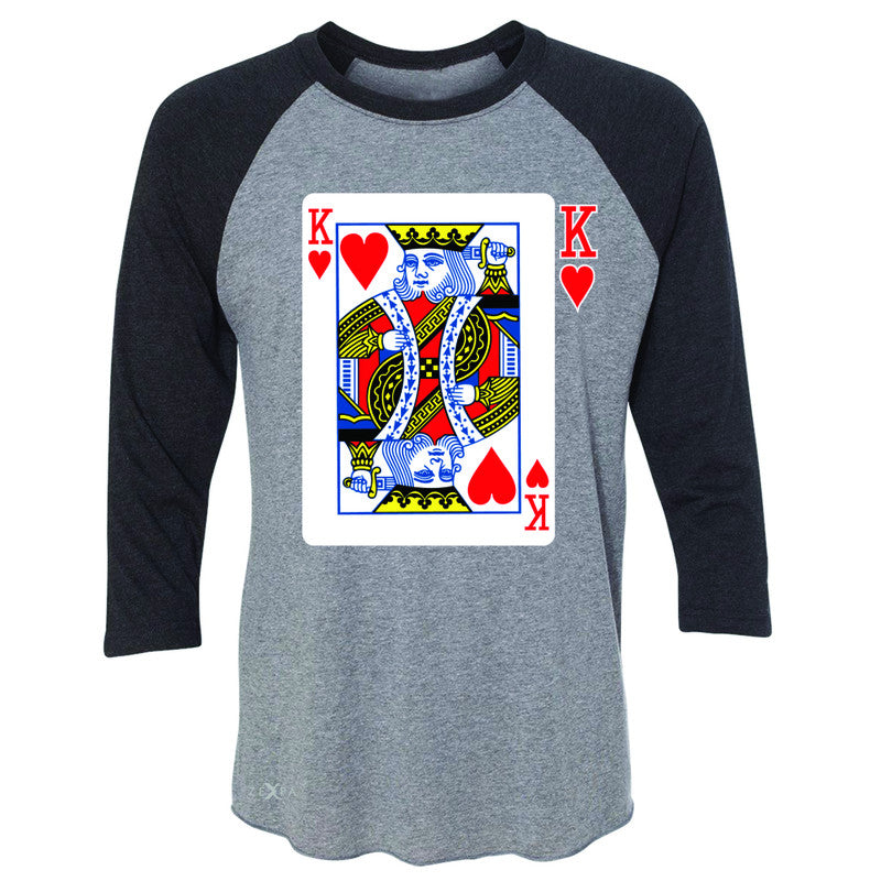 Playing Cards King 3/4 Sleevee Raglan Tee Couple Matching Deck Feb 14 Tee - Zexpa Apparel - 1
