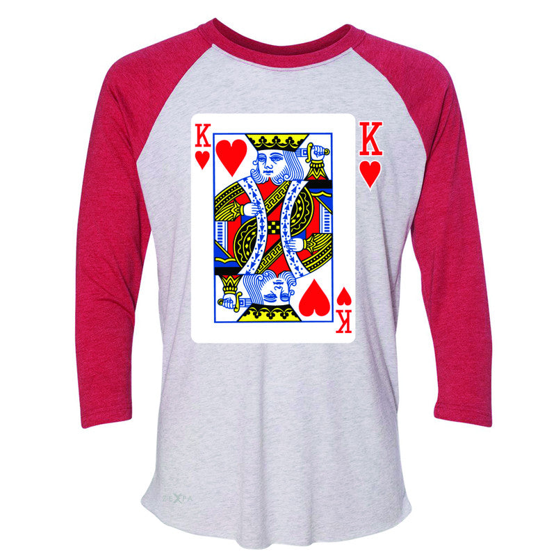 Playing Cards King 3/4 Sleevee Raglan Tee Couple Matching Deck Feb 14 Tee - Zexpa Apparel - 2