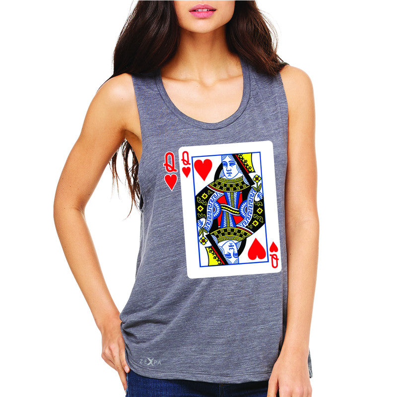 Playing Cards Queen Women's Muscle Tee Couple Matching Deck Feb 14 Sleeveless - Zexpa Apparel - 2