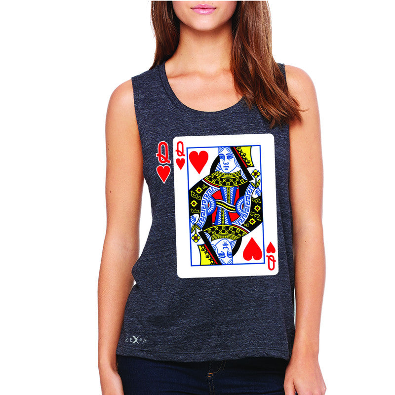 Playing Cards Queen Women's Muscle Tee Couple Matching Deck Feb 14 Sleeveless - Zexpa Apparel - 1