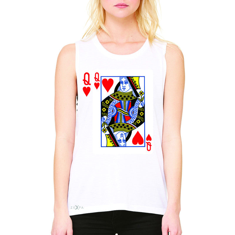 Playing Cards Queen Women's Muscle Tee Couple Matching Deck Feb 14 Sleeveless - Zexpa Apparel - 6