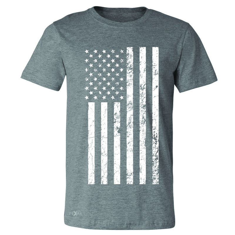 Distressed White American Flag Men's T-shirt Patriotic July,4 Tee - Zexpa Apparel Halloween Christmas Shirts