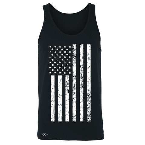 Distressed White American Flag Men's Jersey Tank Patriotic July,4 Sleeveless - Zexpa Apparel Halloween Christmas Shirts