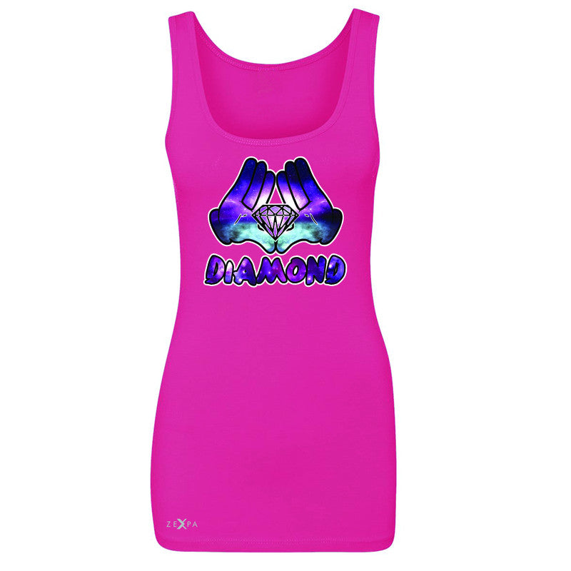 Galaxy Diamond Hands Cartoon Women's Tank Top Cool Graphic Design Sleeveless - Zexpa Apparel - 2