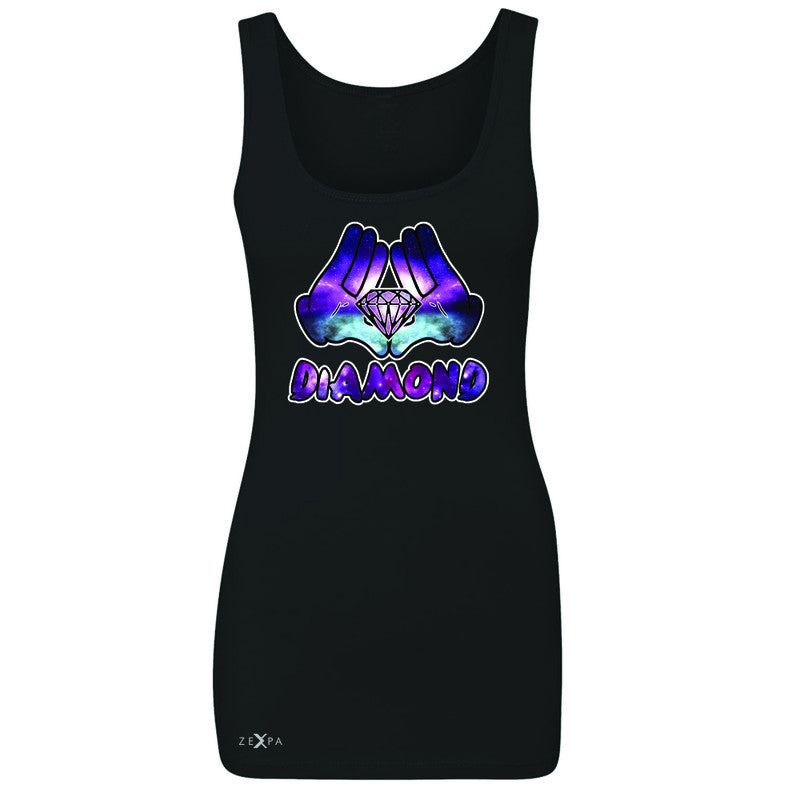 Galaxy Diamond Hands Cartoon Women's Tank Top Cool Graphic Design Sleeveless - Zexpa Apparel - 1