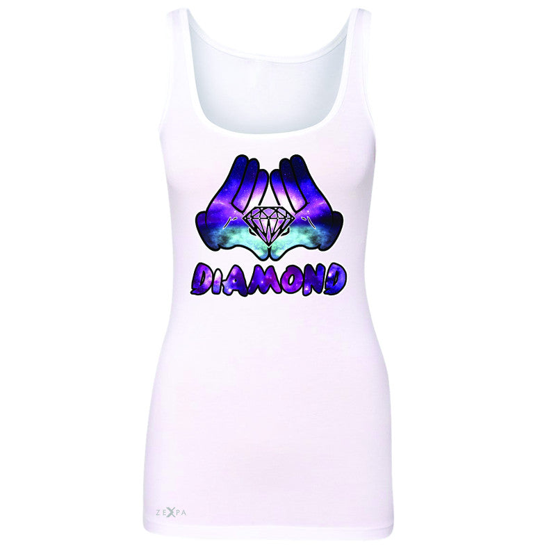 Galaxy Diamond Hands Cartoon Women's Tank Top Cool Graphic Design Sleeveless - Zexpa Apparel - 4
