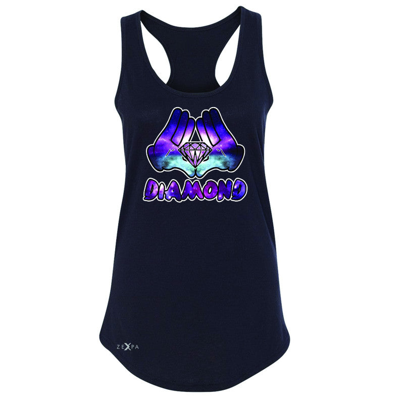 Galaxy Diamond Hands Cartoon Women's Racerback Cool Graphic Design Sleeveless - Zexpa Apparel - 1