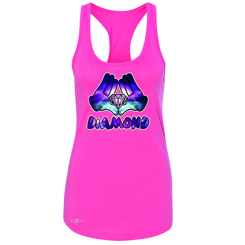 Galaxy Diamond Hands Cartoon Women's Racerback Cool Graphic Design Sleeveless - Zexpa Apparel - 2
