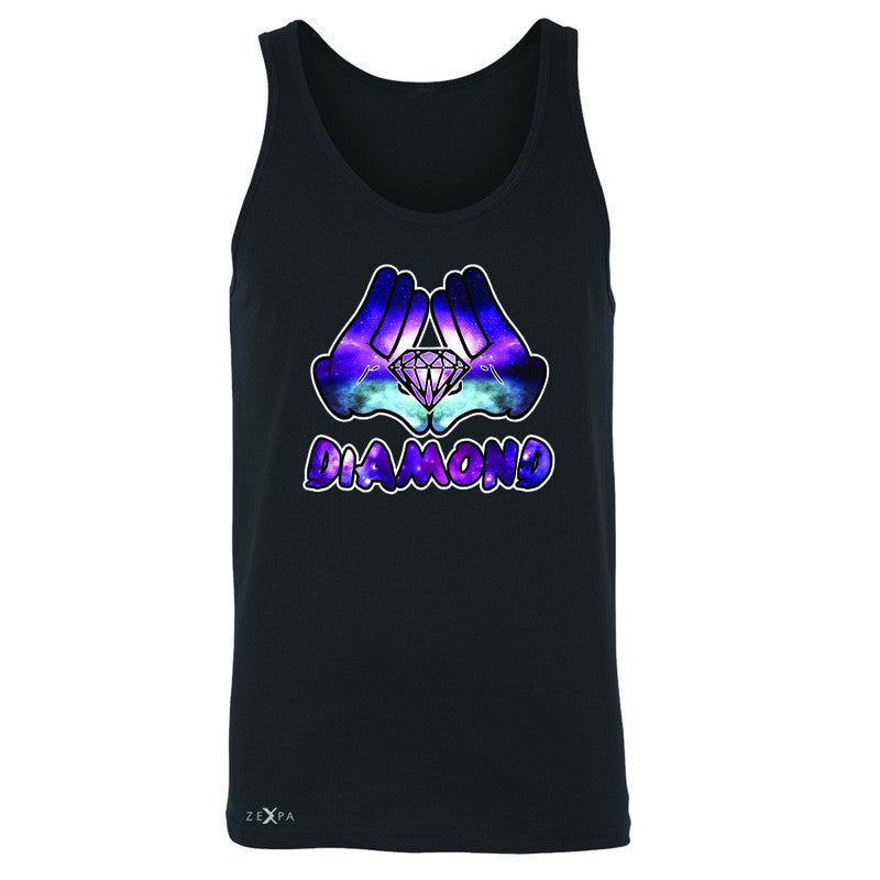 Galaxy Diamond Hands Cartoon Men's Jersey Tank Cool Graphic Design Sleeveless - Zexpa Apparel - 1