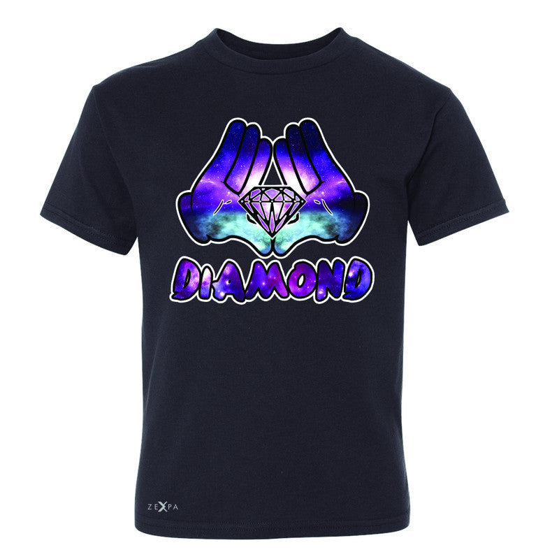 Galaxy Diamond Hands Cartoon Youth T-shirt Cool Graphic Design Tee - Zexpa Apparel - 1
