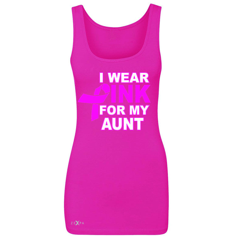 I Wear Pink For My Aunt Women's Tank Top Breast Cancer Awareness Sleeveless - Zexpa Apparel - 2