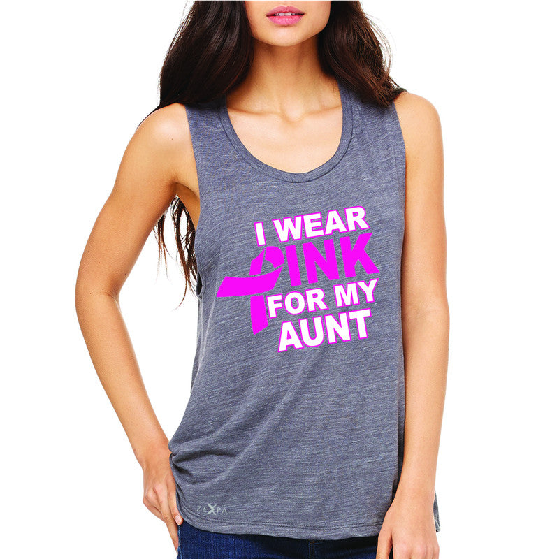I Wear Pink For My Aunt Women's Muscle Tee Breast Cancer Awareness Tanks - Zexpa Apparel - 2