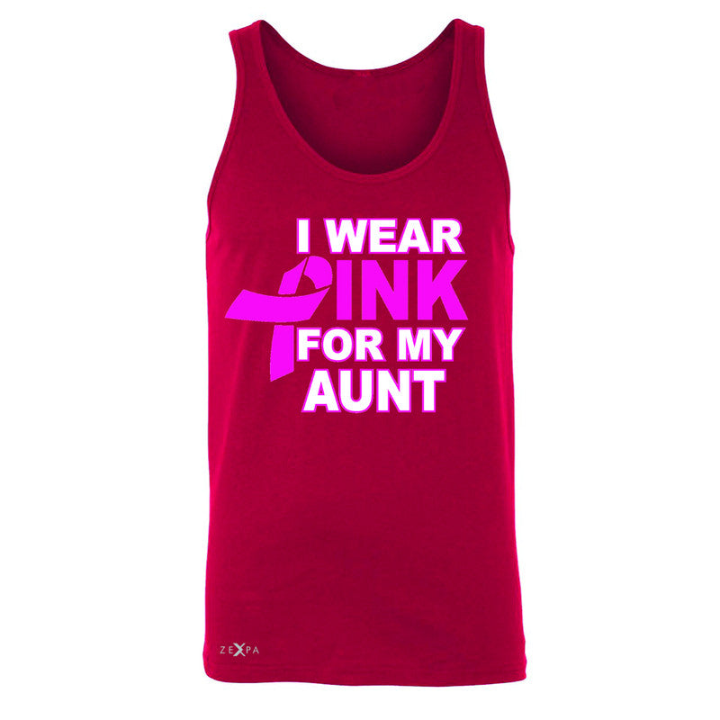 I Wear Pink For My Aunt Men's Jersey Tank Breast Cancer Awareness Sleeveless - Zexpa Apparel - 4
