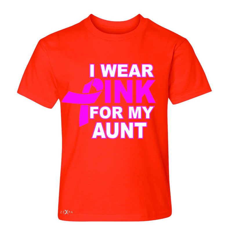 I Wear Pink For My Aunt Youth T-shirt Breast Cancer Awareness Tee - Zexpa Apparel - 2