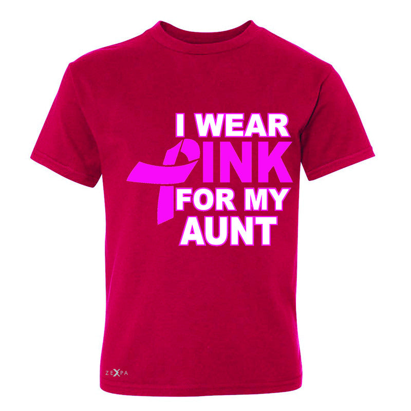 I Wear Pink For My Aunt Youth T-shirt Breast Cancer Awareness Tee - Zexpa Apparel - 4