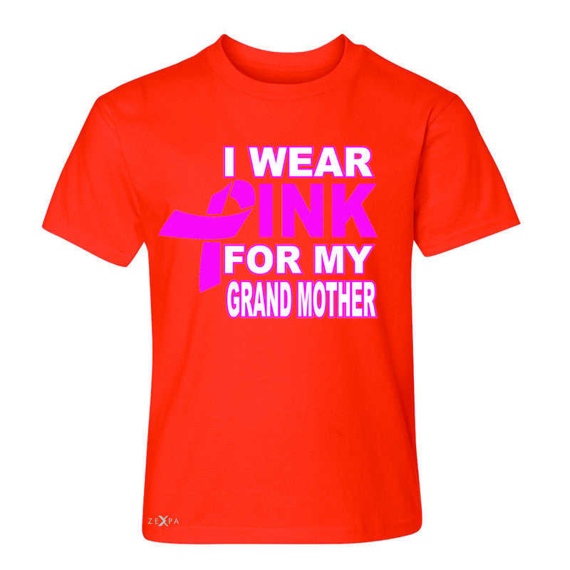 I Wear Pink For My Grand Mother Youth T-shirt Breast Cancer Awareness Tee - Zexpa Apparel - 2