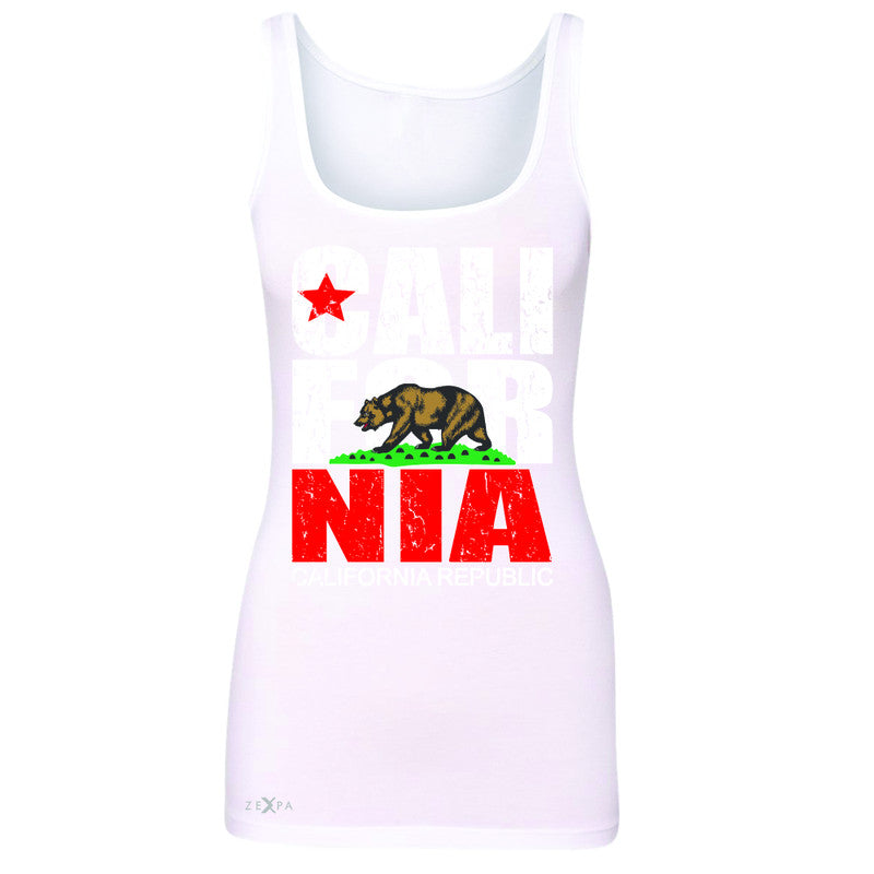 California Republic Vintage Women's Tank Top State Flag CA Bear Sleeveless - Zexpa Apparel Halloween Christmas Shirts