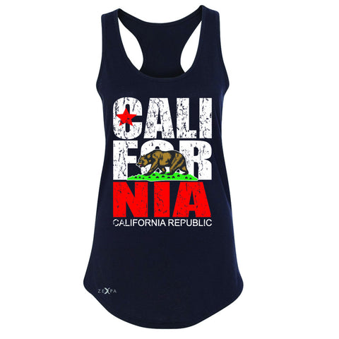 California Republic Vintage Women's Racerback State Flag CA Bear Sleeveless - Zexpa Apparel Halloween Christmas Shirts