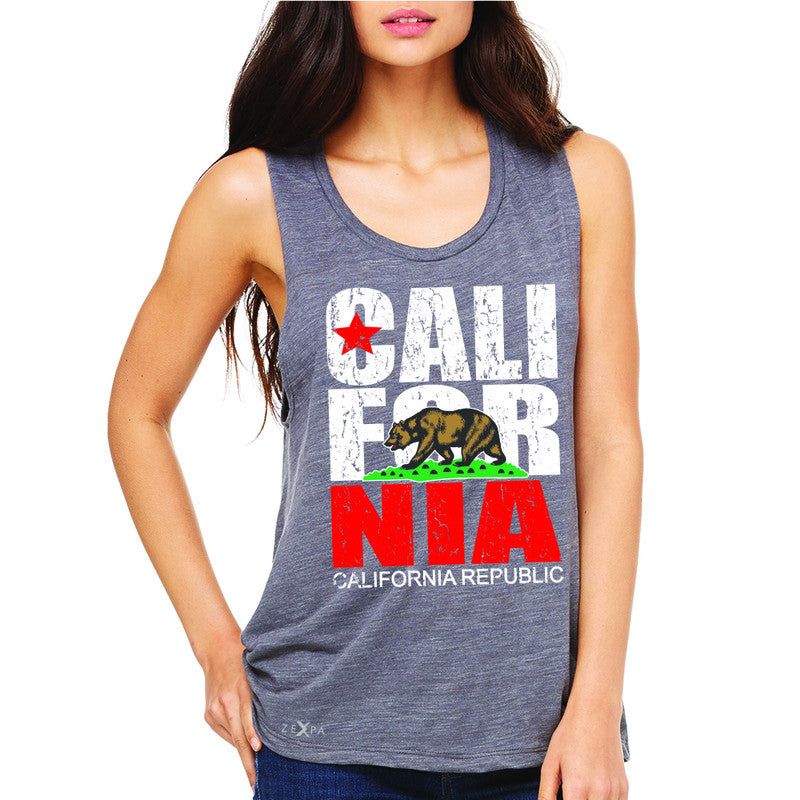 California Republic Vintage Women's Muscle Tee State Flag CA Bear Tanks - Zexpa Apparel Halloween Christmas Shirts