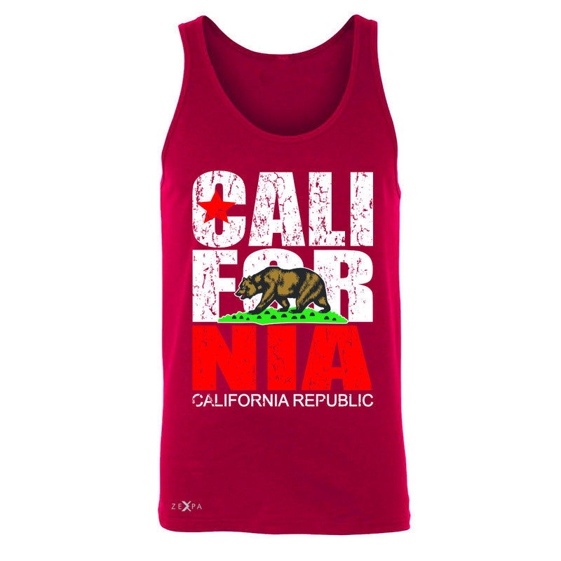 California Republic Vintage Men's Jersey Tank State Flag CA Bear Sleeveless - Zexpa Apparel Halloween Christmas Shirts