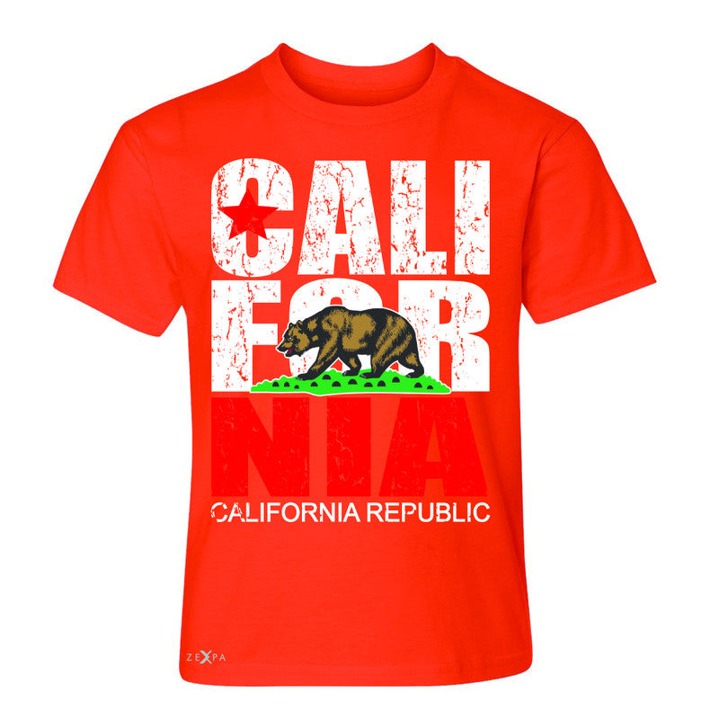 California Republic Vintage Youth T-shirt State Flag CA Bear Tee - Zexpa Apparel Halloween Christmas Shirts