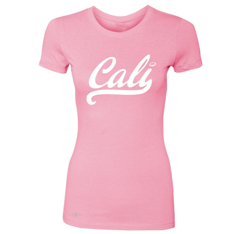 Cali White Lettering Women's T-shirt California State Baseball Tee - Zexpa Apparel Halloween Christmas Shirts