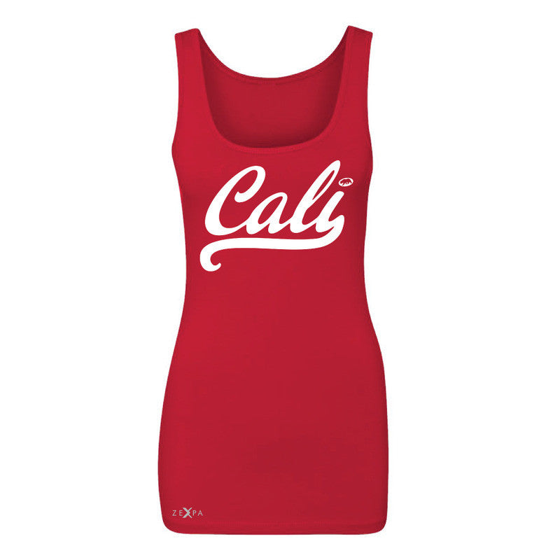 Cali White Lettering Women's Tank Top California State Baseball Sleeveless - Zexpa Apparel Halloween Christmas Shirts