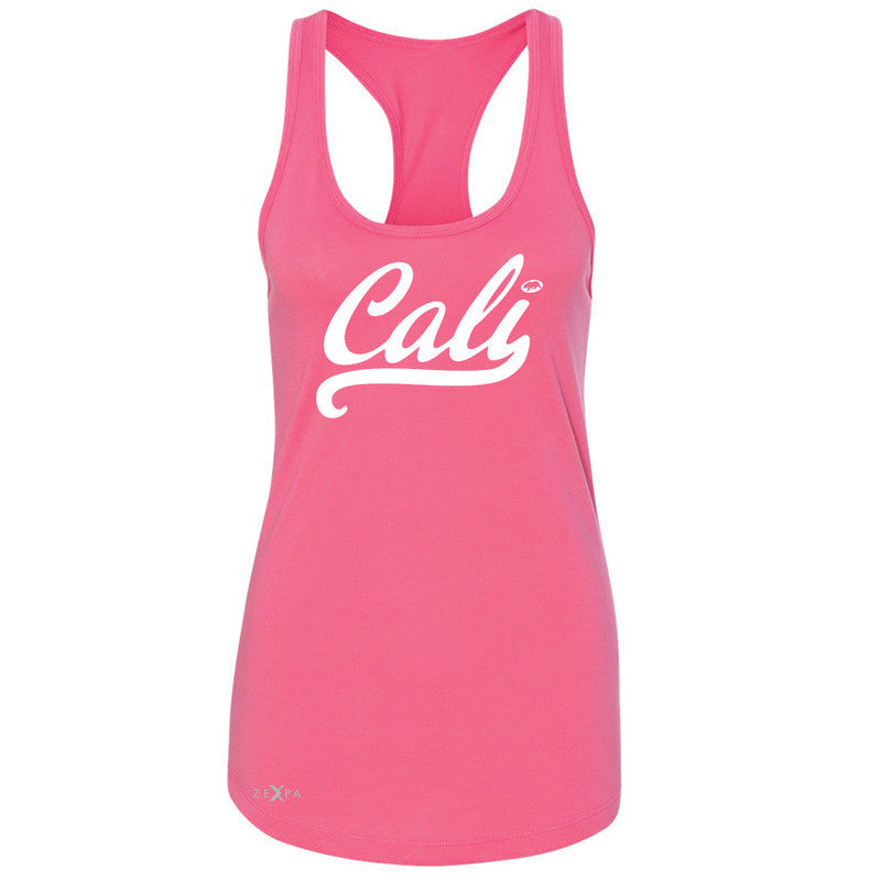 Cali White Lettering Women's Racerback California State Baseball Sleeveless - Zexpa Apparel Halloween Christmas Shirts