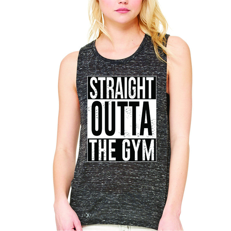 Straight Outta The Gym Women's Muscle Tee Workout Fitness Bodybuild Sleeveless - Zexpa Apparel - 3