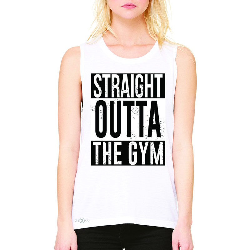 Straight Outta The Gym Women's Muscle Tee Workout Fitness Bodybuild Sleeveless - Zexpa Apparel - 6