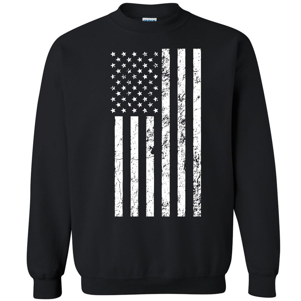 White Distressed American Flag Unisex Crewneck USA 4th of July Sweatshirt - Zexpa Apparel