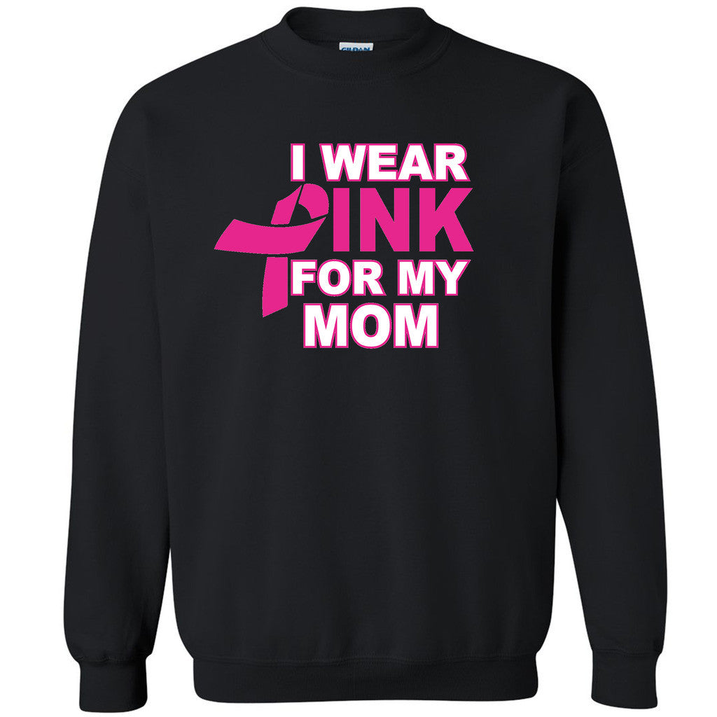 Wear Pink For My Mom Unisex Crewneck Breast Cancer Awareness Sweatshirt - Zexpa Apparel