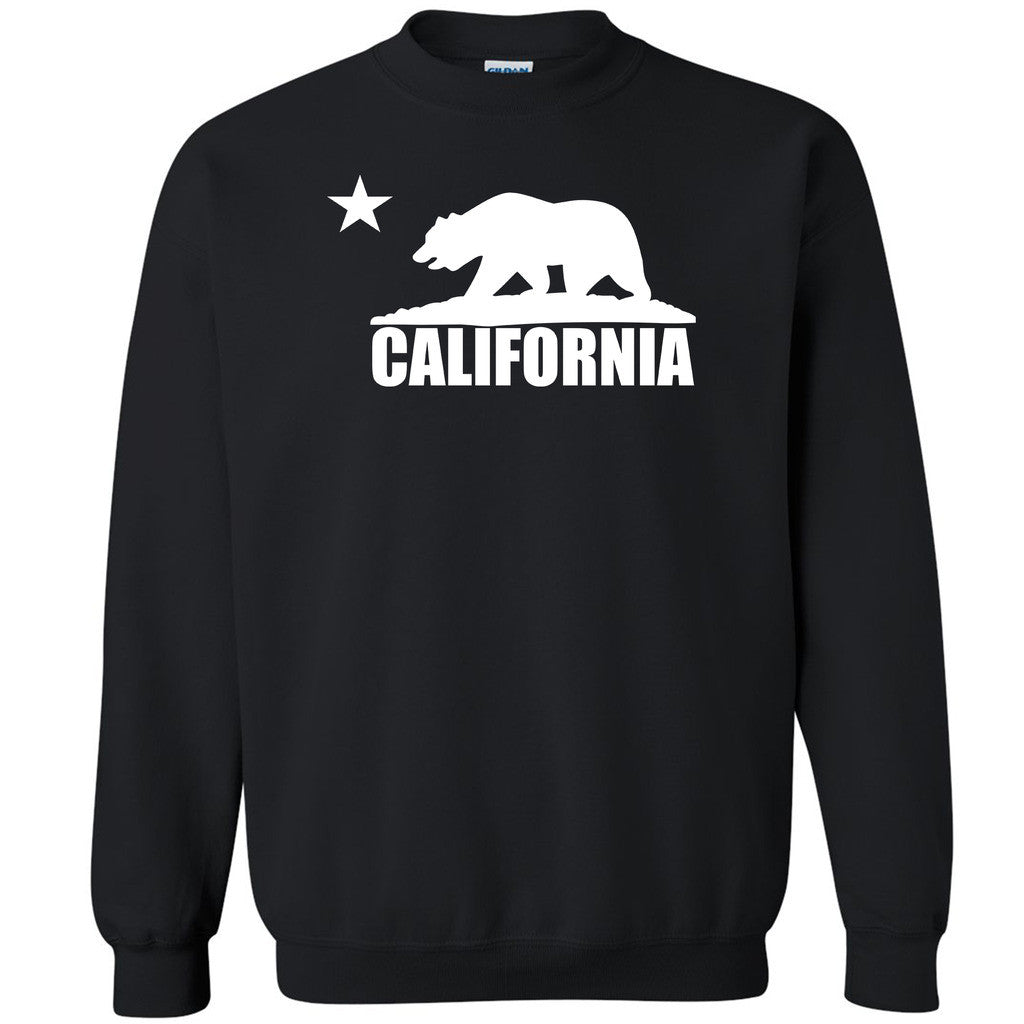 White California Bear Flag Unisex Crewneck Golden State Cali Sweatshirt - Zexpa Apparel
