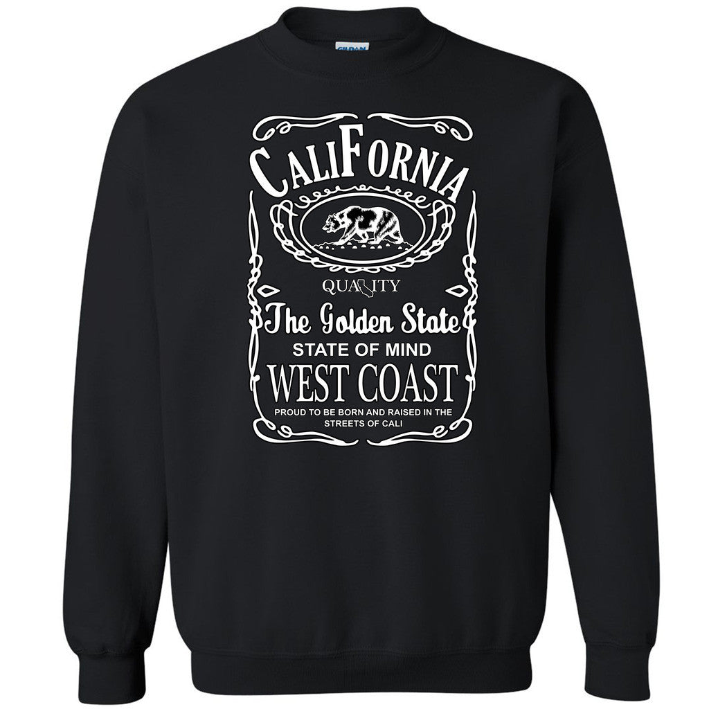 West Coast California Bear Unisex Crewneck Whiskey Font Cali Sweatshirt - Zexpa Apparel
