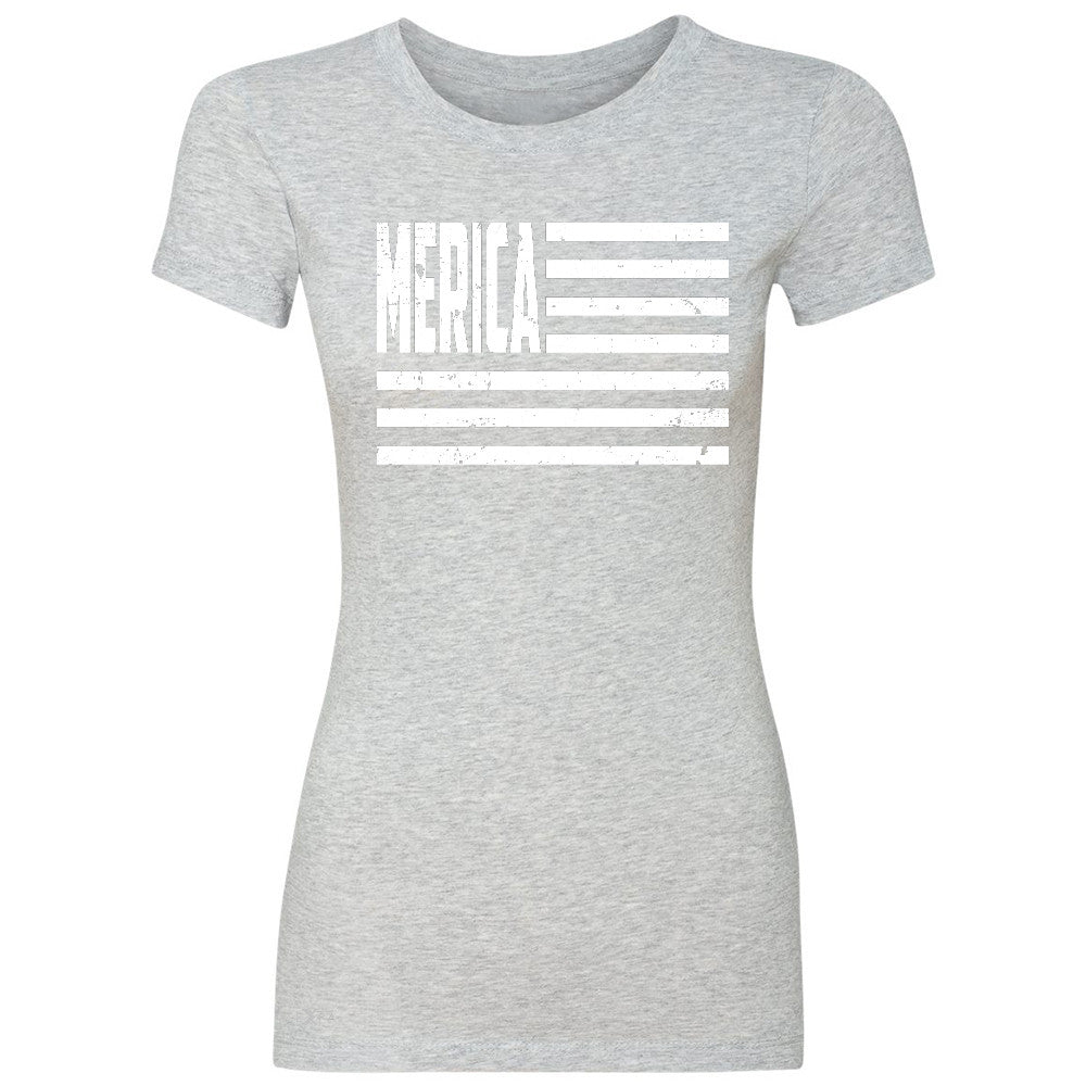 "Zexpa Apparelâ""¢ Merica White Stripes Flag Women's T-shirt Patriotic Tee - Zexpa Apparel Halloween Christmas Shirts"