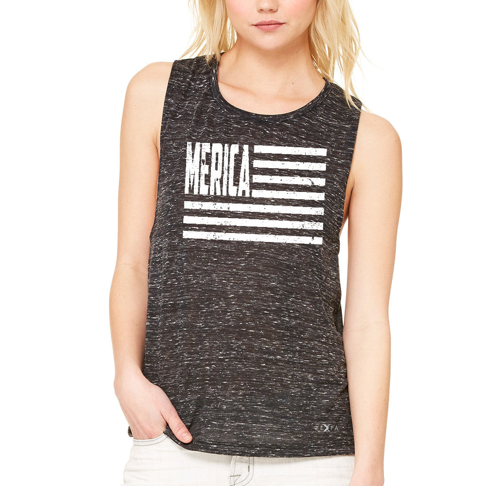 "Zexpa Apparelâ""¢ Merica White Stripes Flag Women's Muscle Tee Patriotic Tanks - Zexpa Apparel Halloween Christmas Shirts"