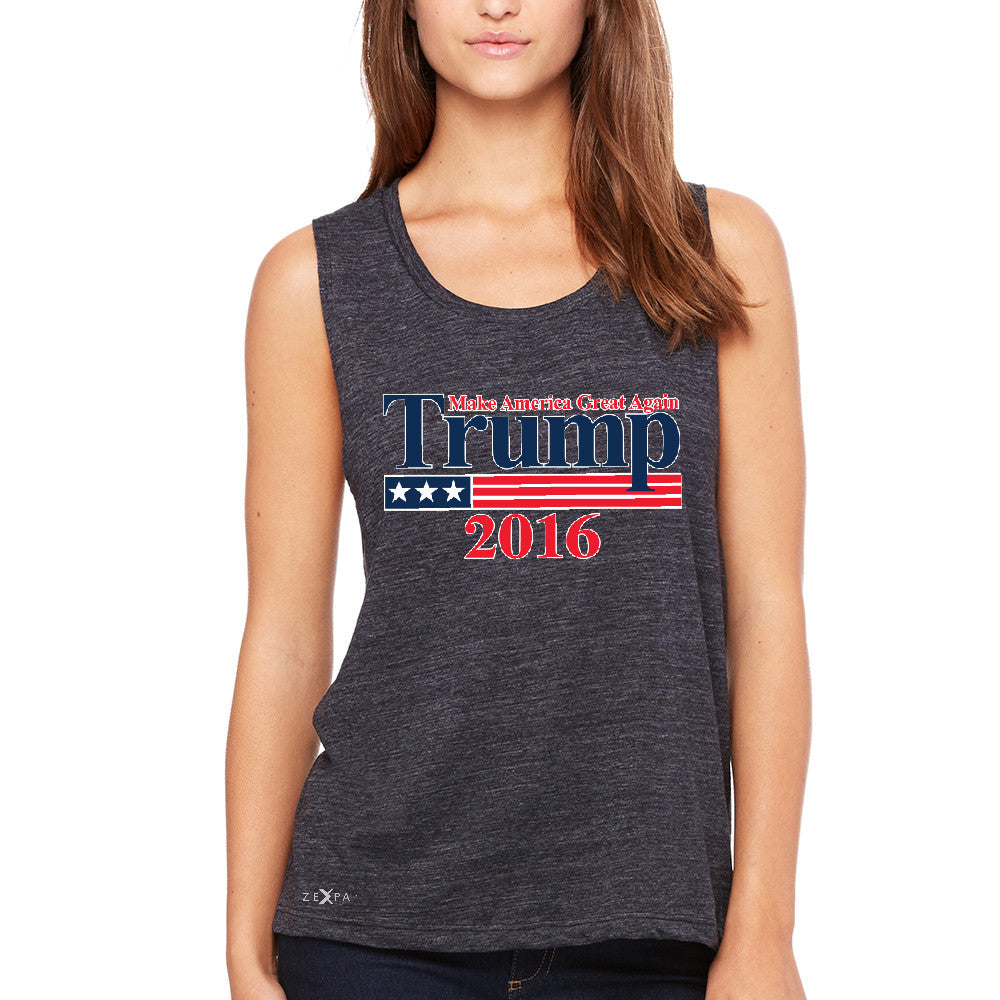 Trump 2016 America Great Again Women's Muscle Tee Elections 2016 Tanks - Zexpa Apparel - 1