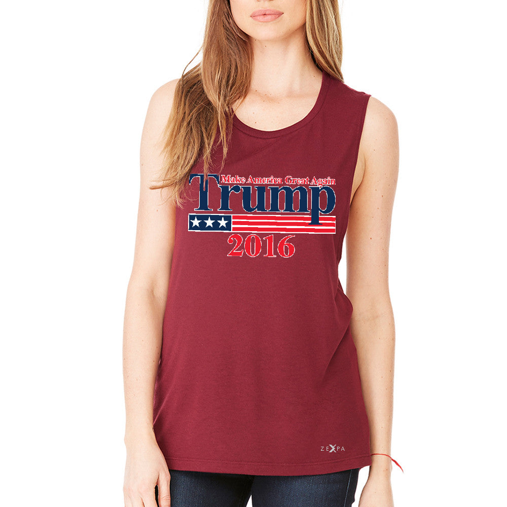 Trump 2016 America Great Again Women's Muscle Tee Elections 2016 Tanks - Zexpa Apparel - 4