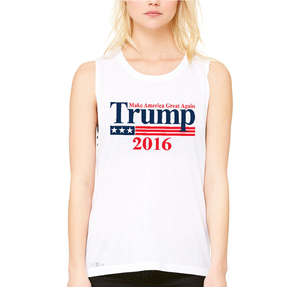 Trump 2016 America Great Again Women's Muscle Tee Elections 2016 Tanks - Zexpa Apparel - 6