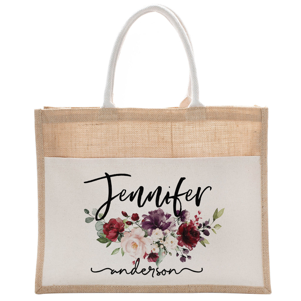 Personalized Luxury Totebag | Cusomized Floral Cotton Canvas Tote Bag For Bachelorette Party Beach Workout Yoga Pilates Vacation Bridesmaid and Daily Use Totes Design #6