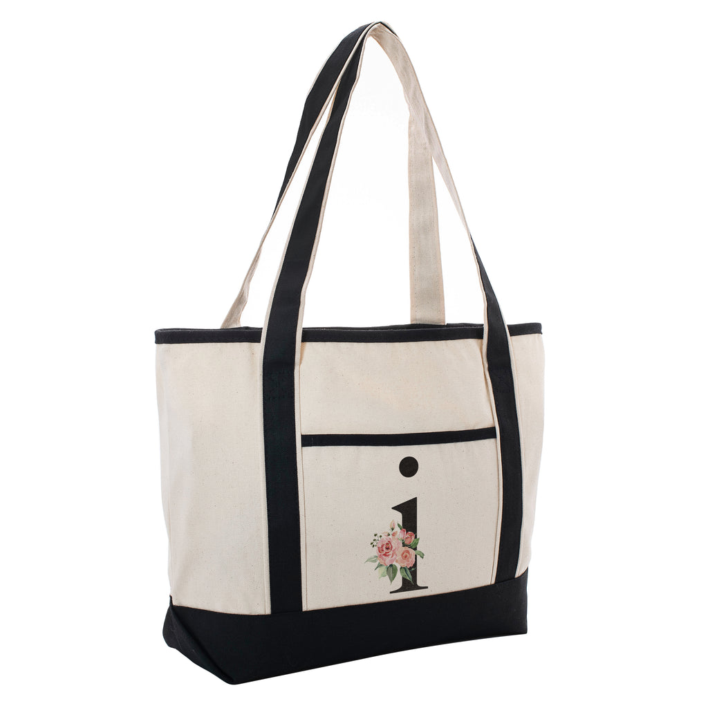 Black Linen Canvas Tote Bag Floral Initial For Beach Workout Yoga Vacation | Daily Use Totes Gift For Events
