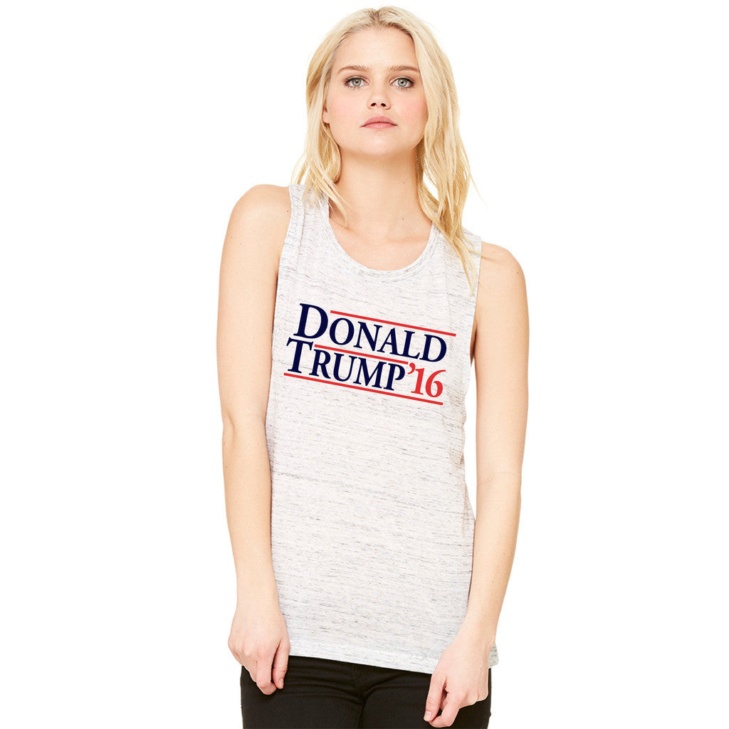 Donald Trump Campaign Reagan Bush Design Women's Muscle Tee Elections Sleeveless - Zexpa Apparel Halloween Christmas Shirts