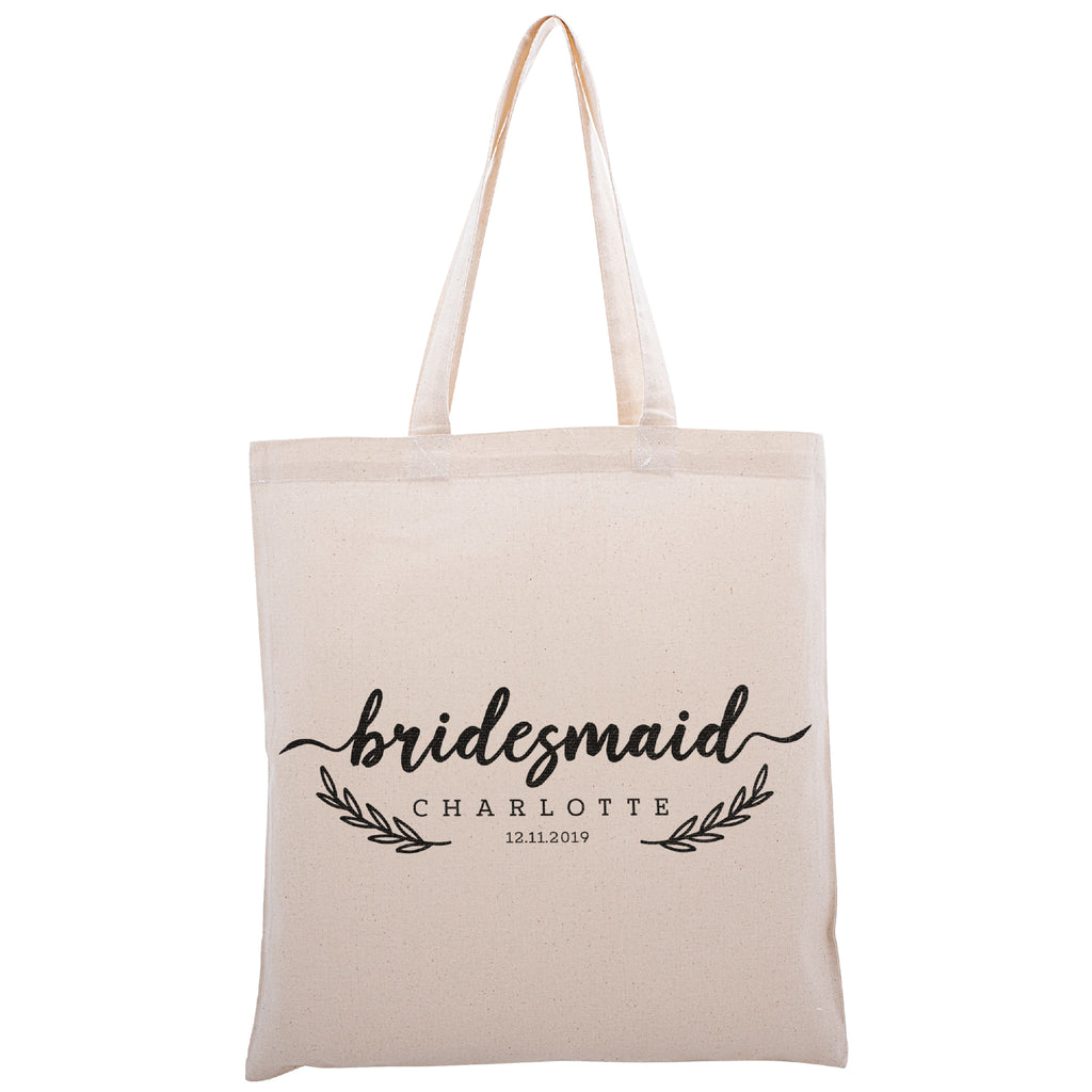 Personalized Tote Bag For Bridesmaids Wedding | Customized Bachelorette Party Bag | Baby Shower and Events Totes |Design #13