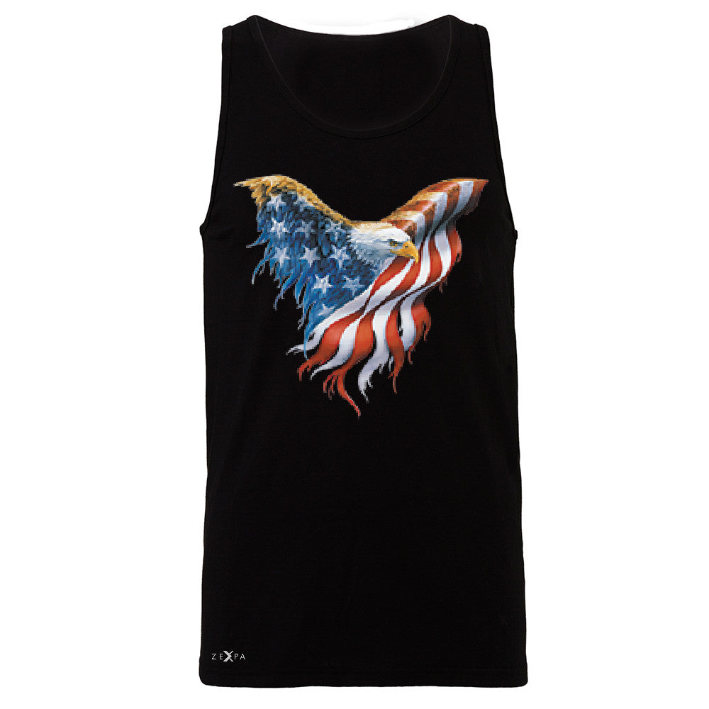 American Flag Bald Eagle Men's Jersey Tank USA Flag 4th of July Sleeveless - Zexpa Apparel Halloween Christmas Shirts